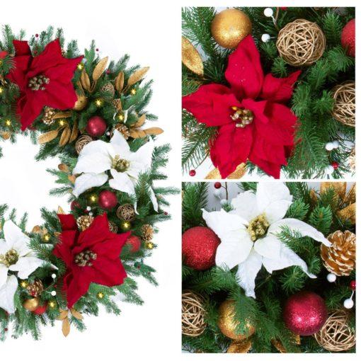 Red & White Poinsettia Pre-Decorated + Pre-Lit Wreath