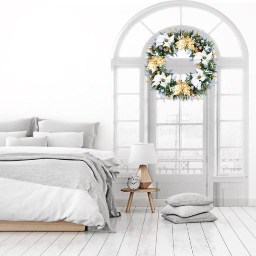 Silver & Gold Pre-Decorated + Pre-Lit Wreath